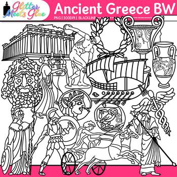 Ancient Greece Clip Art {Civilization & Culture on the Mediterranean} B&W