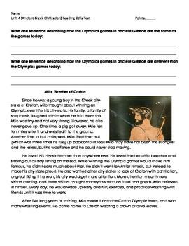 Ancient Greece Civilization Reading Skills Test