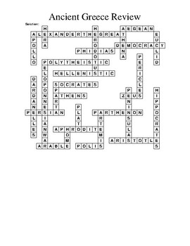 Ancient Greece Crossword Puzzle (WHI.5)