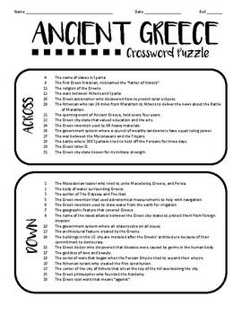 Ancient Greek Crossword (Ancient Greece Lesson Plan)