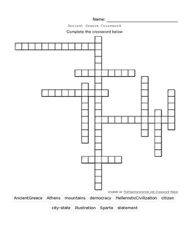 Ancient Greece Crossword Version 2