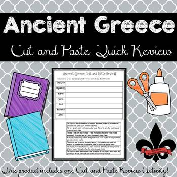 Ancient Greece Cut and Paste Review--NO PREP