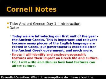Ancient Greece Day 1 - Assumptions