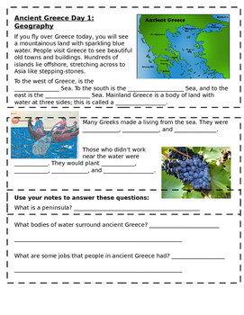 Ancient Greece Day 1 Skeletal Notes: Geography