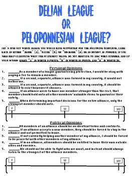 Ancient Greece - Delian League vs. Peloponnesian League Survey