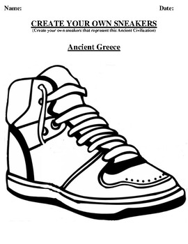Ancient Greece Design your own sneaker and writing worksheet