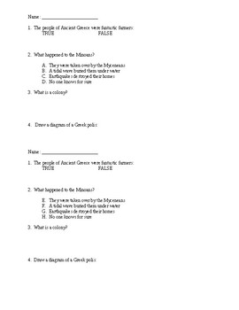 Ancient Greece Do Now 4-Question Quiz