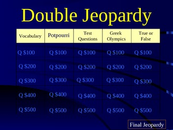 Ancient Greece Double Jeopardy Review