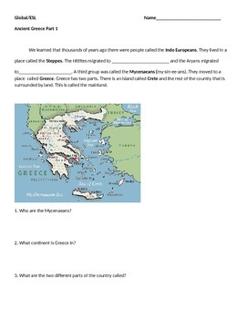 Ancient Greece ESL Beginner to low interm to support 9th grade Global I class