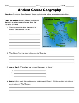 Ancient Greece Geography Worksheets | Teachers Pay Teachers