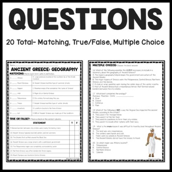 Ancient Greece: Geography Reading Comprehension Worksheet; Greek