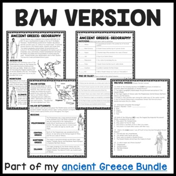 Ancient Greece: Geography Reading Comprehension Worksheet; Greek