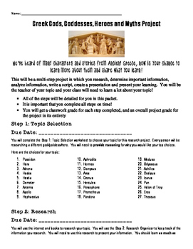 Ancient Greece Gods and Goddesses Project