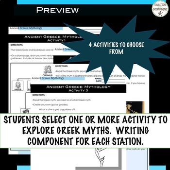 Ancient Greece Mythology Station Activities for Ancient Greece Unit UPDATED