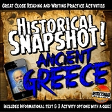 Ancient Greece Historical Snapshot Close Reading Investigation