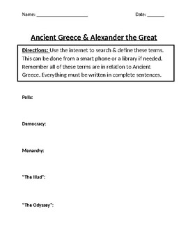 Ancient Greece Homework Definitions