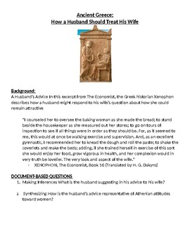 Ancient Greece: How a Husband Should Treat His Wife- Worksheet