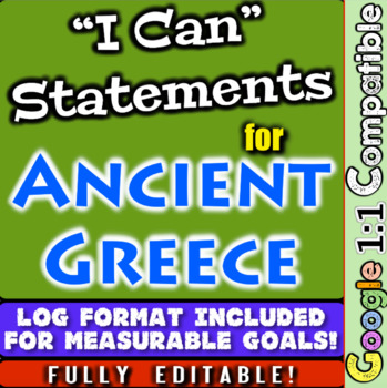 "Ancient Greece ""I Can"" Statements & Learning Goals! Log & Measure Greece Goals"
