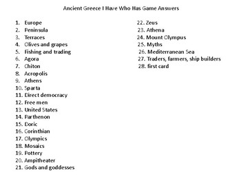 Ancient Greece I Have Who Has Game