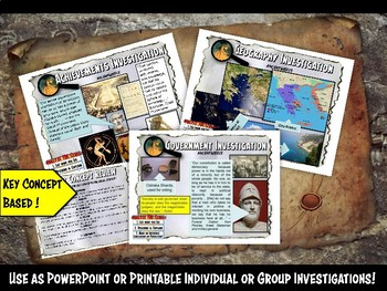Ancient Greece Investigation History Lesson Stations or Presentation