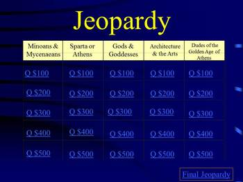 Ancient Greece Jeopardy Chapter Review