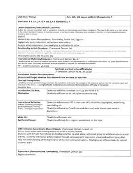 Mesopotamia Lesson Plan,  Worksheet, Regents Based Assessment
