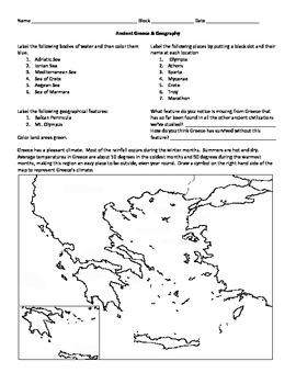 Ancient Greece Map Activity By Middle School Marketplace Tpt