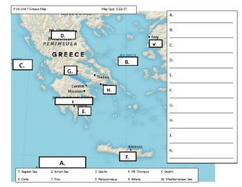 Ancient greece map by middle school world history tpt ancient greece map gumiabroncs Image collections