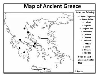 Ancient Greece Map Activity By Kristen Pesci Teachers Pay Teachers