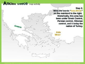 Ancient Greece Map Activity: Fun, engaging follow-along 23-slide PPT