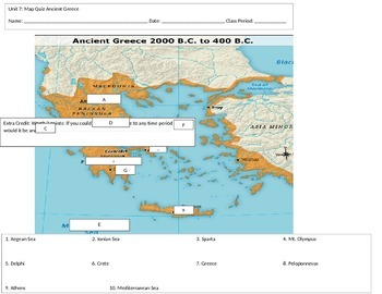 Ancient Greece Map Quiz by Middle School World History | TpT
