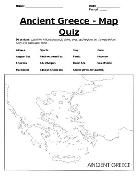 Ancient Greece Map Quiz Ancient Greece   Map Quiz by Wheeler's History Emporium | TpT