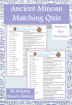Ancient Greece Minoans Activity Matching with Answer Key