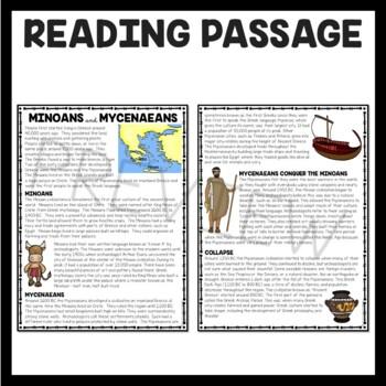 Ancient Greece: Minoans and Mycenaeans Reading Comprehension Worksheet; Greek