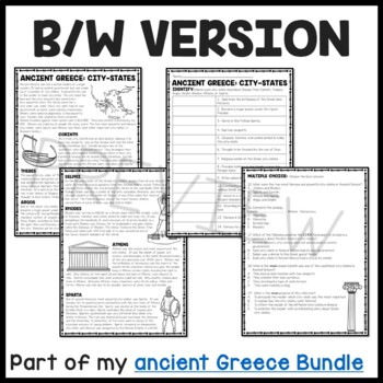 Ancient Greece: City-States Reading Comprehension Worksheet; Greek