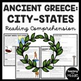 Ancient Greece City-States Reading Comprehension Worksheet Greek
