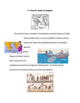 Ancient Greece Modified Unit Section 1 Rise of Greek Civilization
