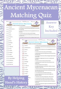 Ancient Greece Mycenaean Activity Matching with Answer Key