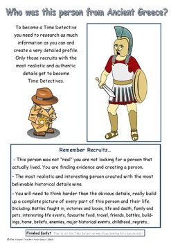 Ancient Greece Mystery Lesson - Who Was This Person? Time Detectives!