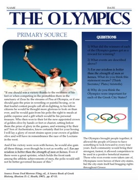 Ancient Greece: Olympics Interactive Lesson Plan Bundle wi