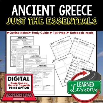 Ancient Greece Outline Notes JUST THE ESSENTIALS Unit Review, Outline, Test Prep