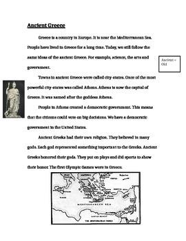 Ancient Greece Passage for Quiz