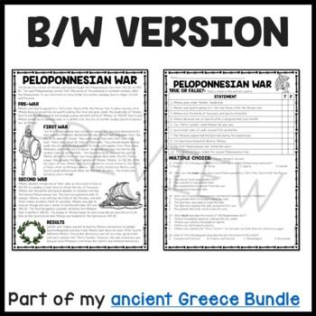 Ancient Greece: Peloponnesian War Reading Comprehension Worksheet; Greek