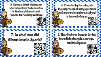 Ancient Greece: People, Civilizations and Mythology QR Code Task Cards