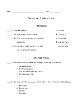 Ancient Greece Pretest
