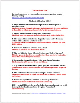 Ancient Greece Primary Source Worksheet: The Battle of Marathon