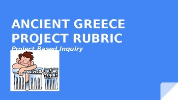 """Ancient Greece Project Based Learning Rubric """"Its All About You!"""""""
