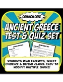 Ancient Greece Quiz and Test Common Core Writing and Literacy