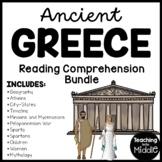 Ancient Greece Reading Comprehension Worksheet Bundle Informational Text