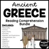Ancient Greece Reading Comprehension Worksheet Bundle Info